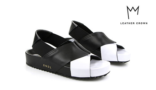 BLACK AND WHITE LEATHER CROWN SANDALS TEL AVIV AT THEGATE24