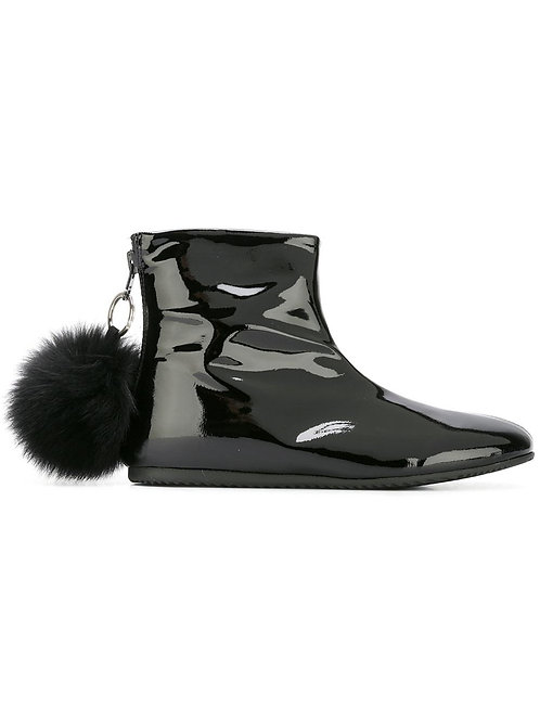 Black PomPom Zipped Boots Joshua Sanders Tel-Aviv