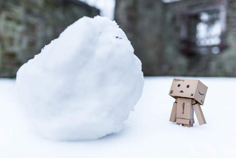 Danbo mit Schneeball