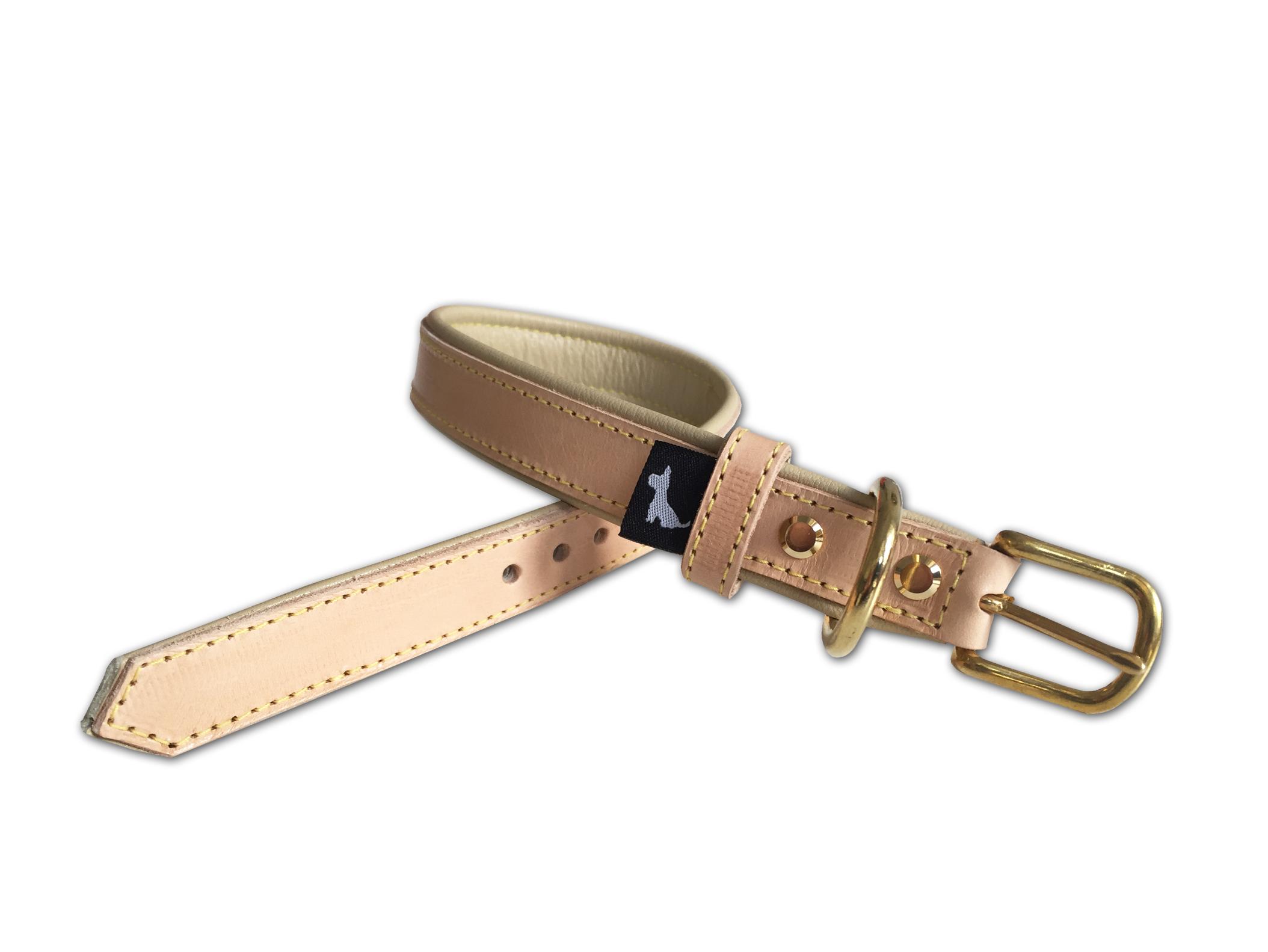 Halsband Leder natur basic beige