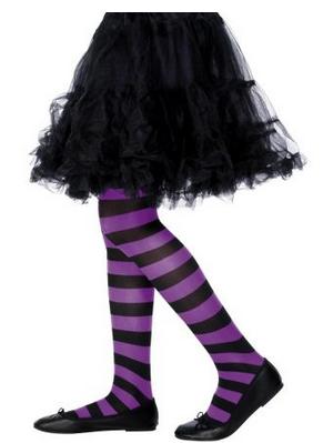 Collant bambina a righe nero viola