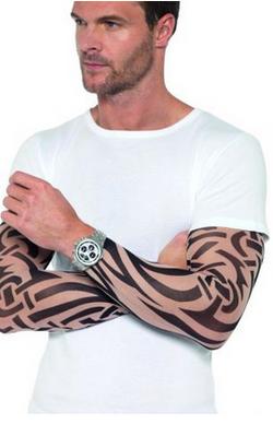 Guanti con tatuaggio finto