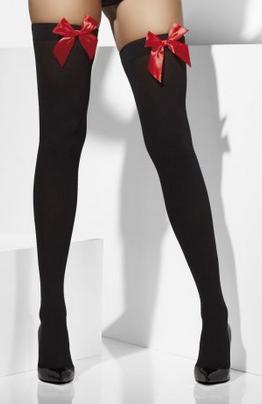 Auto-reggenti nere con fiocco rosso
