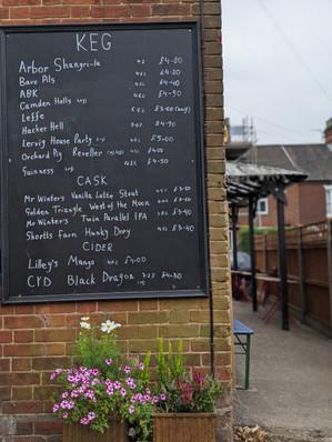 The Rosebery Pub Beer Board