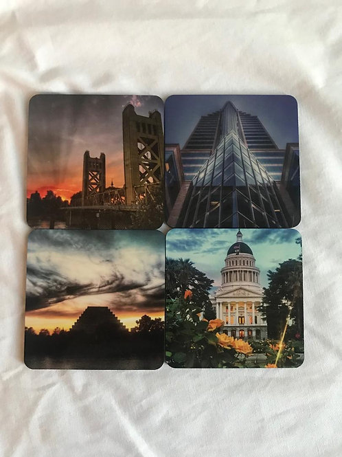 4 drink coasters of Downtown Sacramento