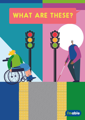 Image showing a wheelchair user and a person with a white cane, stopping by the tactile pavings in front of the traffic light.