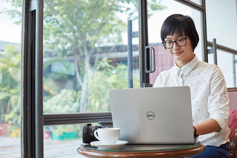 Picture shows a lady working on her laptop.jpg