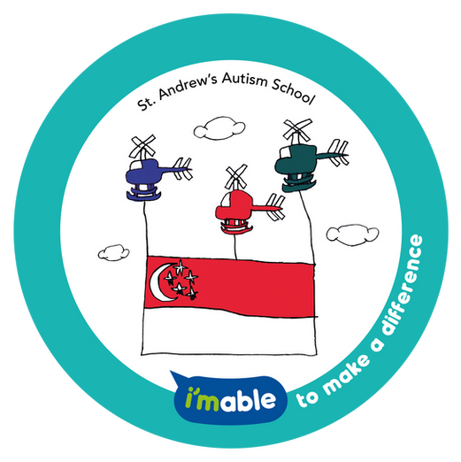 Artwork by St. Andrew's Autism School showing three helicopters in the air flying a Singapore flag.