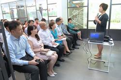 Photo of Ms Ku Geok Boon addressing everyone.