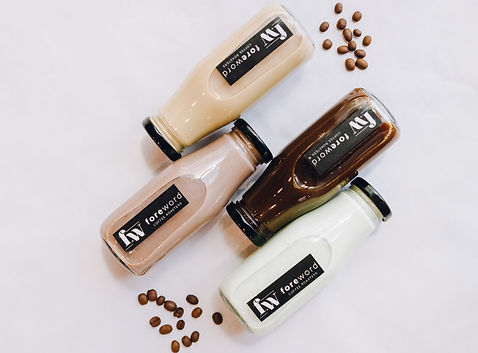 Foreword Coffee offers options for coffee, team, chocolate, chai and green tea latte in glass bottles you can keep reusing.