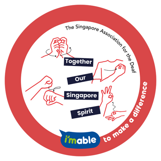 Artwork by The Singapore Association for the Deaf showing hand signs for 'Together Our Singapore Spirit'.