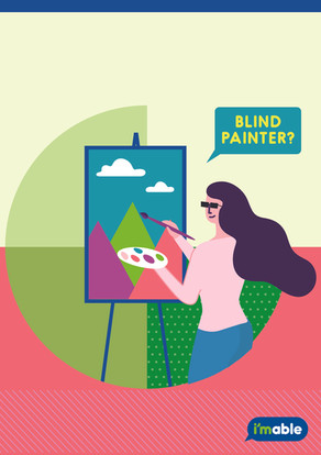 Image showing a lady with visual impairment painting on a piece of canvas.