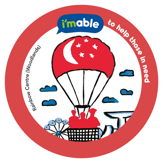 Artwork by Rainbow Centre Admiral Hill School showing a hot air balloon with the Singapore Flag carrying three frontliners.