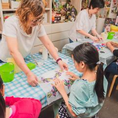 Participants in an art workshop