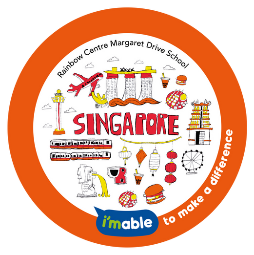 Artwork by Rainbow Centre Margaret Drive showing many of Singapore's icons and landmarks including a bubble tea.