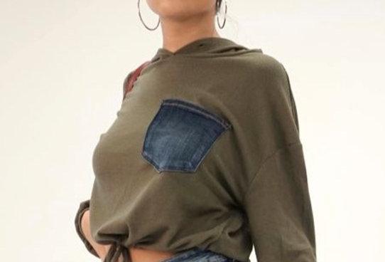 Denim Pocket Top with Hood