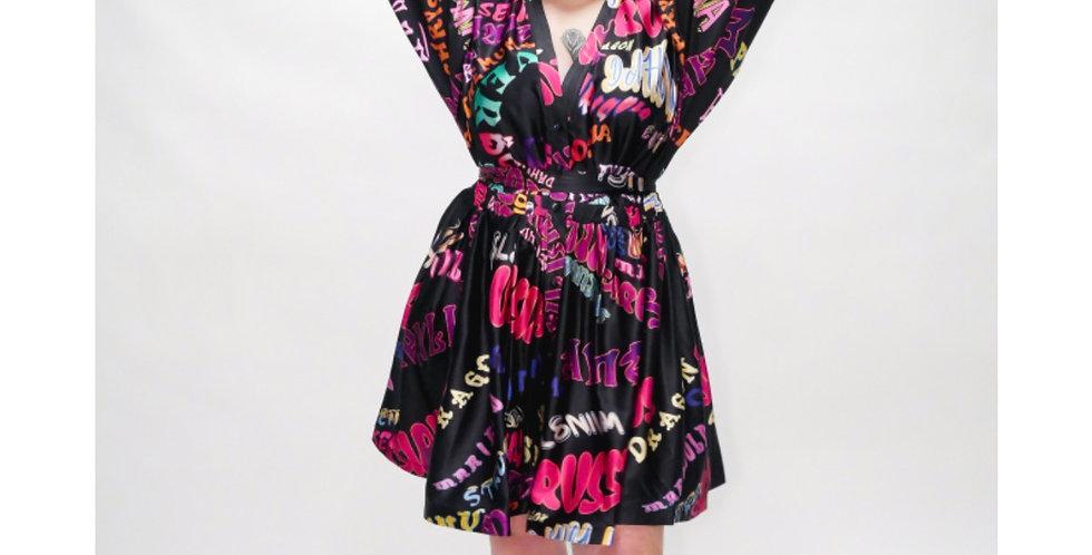Multicolor Button Up Mini Dress