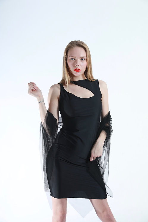 Black milliskin spandex matte fabric, cutout front