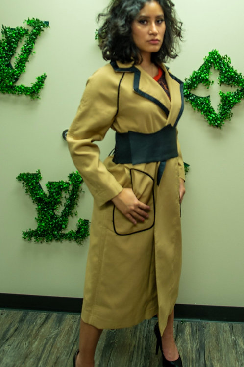 Tan coat with leather corset