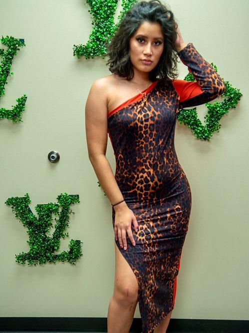 Cheetah print and orange scuba fabric