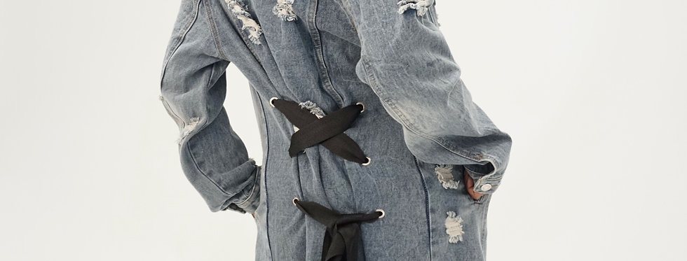 Lace Me Up Denim Trench