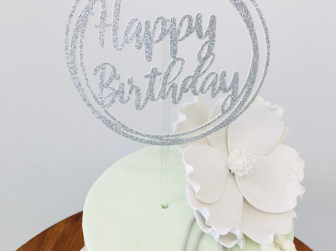 Glitter Round Cake Topper