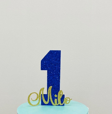 Glitter Cake Topper (Number and Name)
