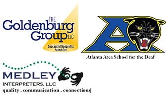 The Goldenburg Group LLC Successful Nonprofits Stand Out, Atlanta Area School for the Deaf, Medley Intepreters LLC quality, communications, connections logos