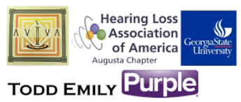 Aviva, Hearing Loss Association of America Augusta Chapter, Georgia State University, Todd Emily, Purple logos