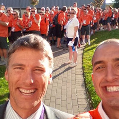 Marco Iannuzzi with Vancouver Mayor Gregor Robertson marching together in Special Olympics opening ceremonies