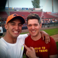 Marco Iannuzzi with Michael Buble playing charity softball for Shriners Hospital