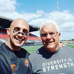 Marco Iannuzzi with CFL's all-time winningest coach Wally Buono at Ottawa's TD stadium