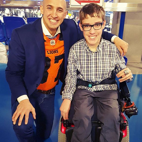 Marco Iannuzzi with budding sports analyst and friend Ben at Langley Career Fair