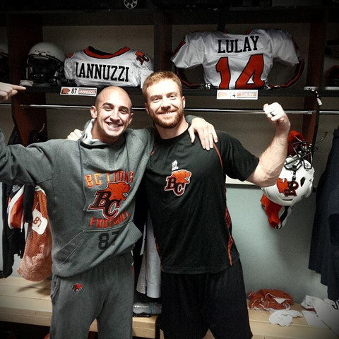 Marco Iannuzzi with MOP QB Travis Lulay in Rogers Center locker room
