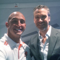 Marco Iannuzzi with Canucks all-time great Trevor Linden at TSN radio studio