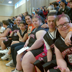 Marco Iannuzzi with North Vancouver Special Olympic basketball team