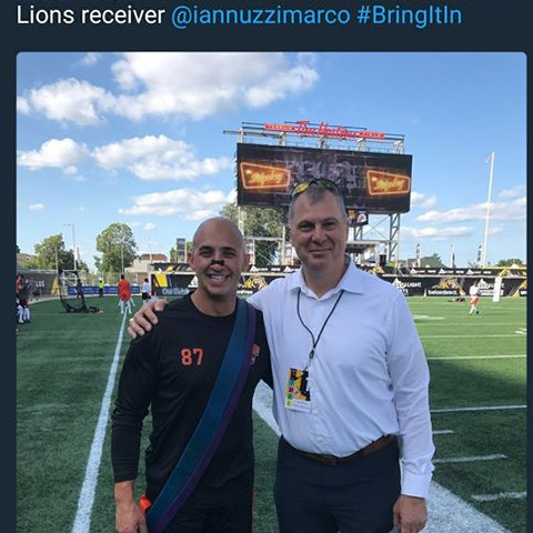 Marco Iannuzzi with CFL commissioner Randy Ambrosie