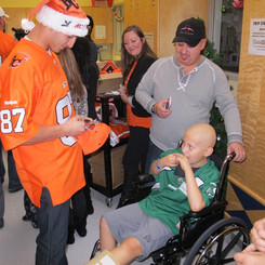 Marco Iannuzzi making christmas visits to oncology at BC Children's hospital