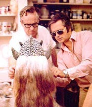 Makeup artist John Chambers and ghoul designer Tom Wright at work