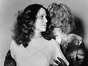 """Louise Sorel poses with co-star Michael Blodgett's mummy (modeled by makeup artist Bud Westmore) for """"The Dead Man"""""""