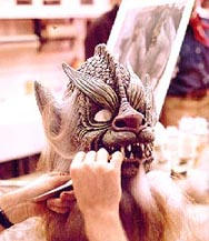 Application of hair to the ghoul mask