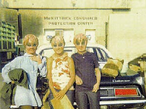"""Susannah Darrow (center) and fellow Boreonites on the Universal back lot shooting """"The Different Ones"""""""