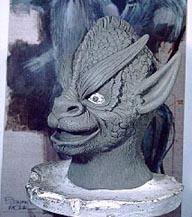 """Clay model of the ghoul mask for """"Pickman's Model"""""""