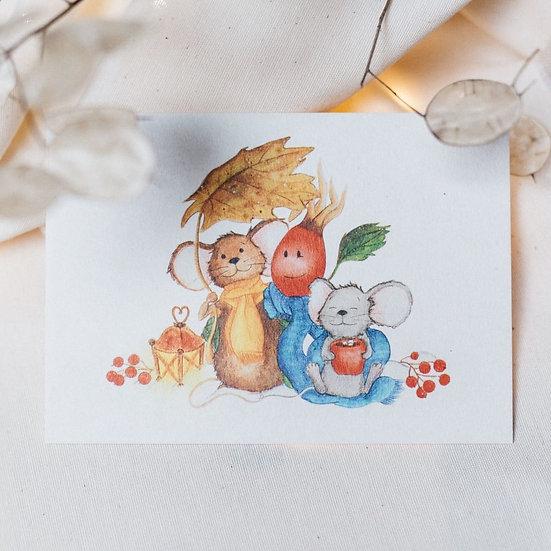 """Postkarte """"Wintermäuse"""""""