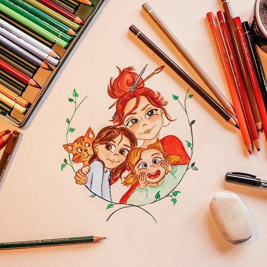 Handgezeichnetes Familien Portrait
