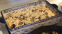 Polenta, mushrooms and gorgonzola casser