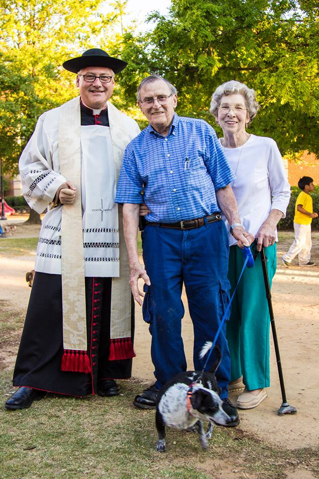 """Fr. Linsky with Pat and Mary Callahan and """"Cookie"""""""