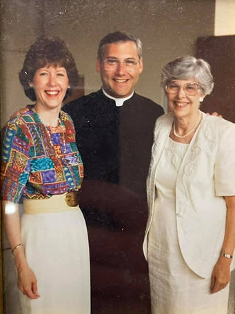 Fr. Linsky at ordination, with his sister and mother