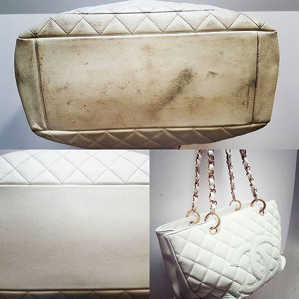 White Leather Chanel Bag restored to it'