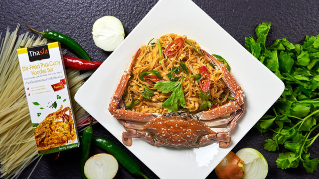 stir - fried thai curry noodle set and p